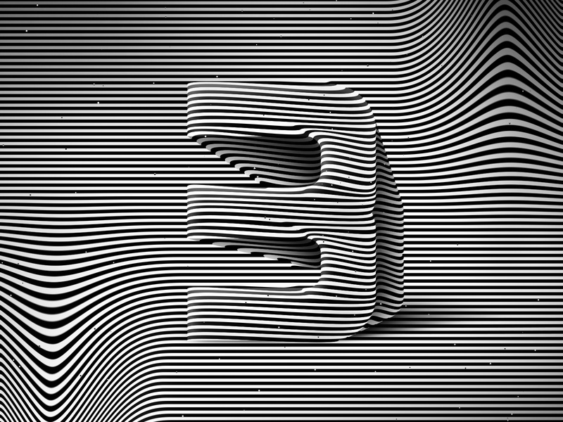 Number 3, 36daysoftype 2020 3d number visual effect abstract geometry geometric abstraction optical illusion op art geometrical type black white striped lines hypnotic kinetic typography graphic design opart letter 3 36days 36daysoftype-3 36daysoftype07 36daysoftype