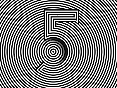 Number 5, 36daysoftype 2020 trippy number visual effect abstract geometry geometric abstraction optical illusion op art geometrical type black white striped lines hypnotic kinetic typography graphic design opart letter 5 36days 36daysoftype-5 36daysoftype07 36daysoftype