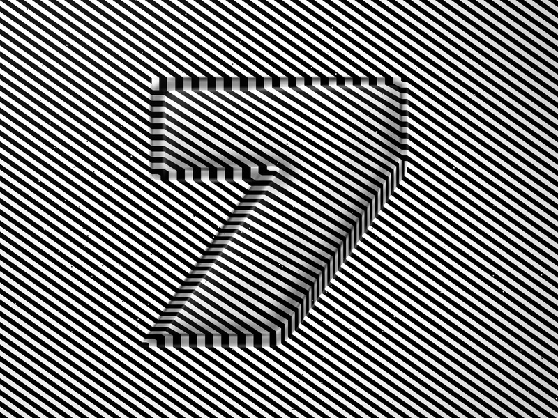 Number 7, 36daysoftype 2020 trippy number visual effect abstract geometry geometric abstraction optical illusion op art geometrical type black white striped lines hypnotic kinetic typography graphic design opart letter 7 36days 36daysoftype-7 36daysoftype07 36daysoftype