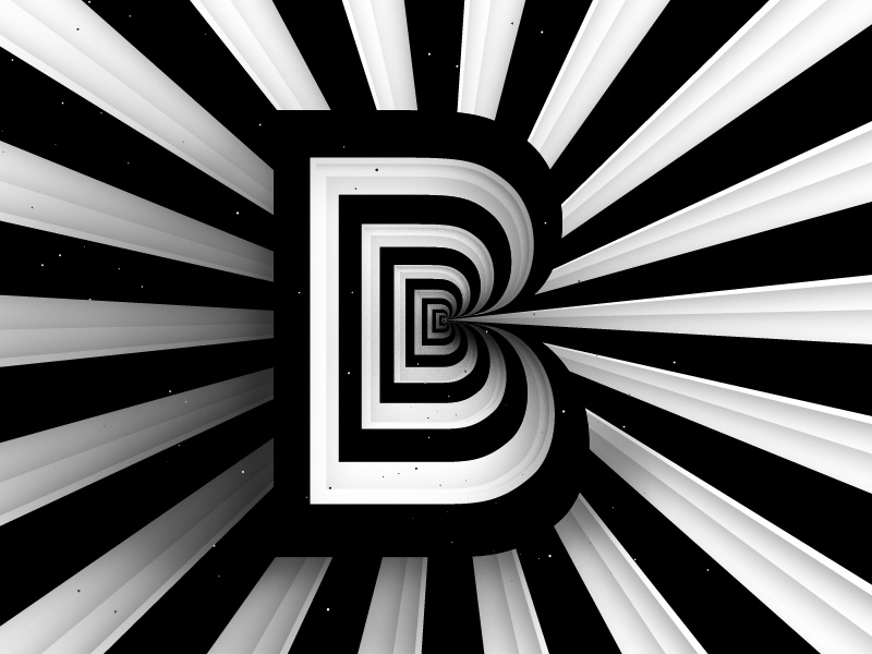 Letter «B» /36daysoftype black white visual graphics optical illusion striped lines illustration op art graphic design typography 36daysoftype06 36daysoftype 36days-b b