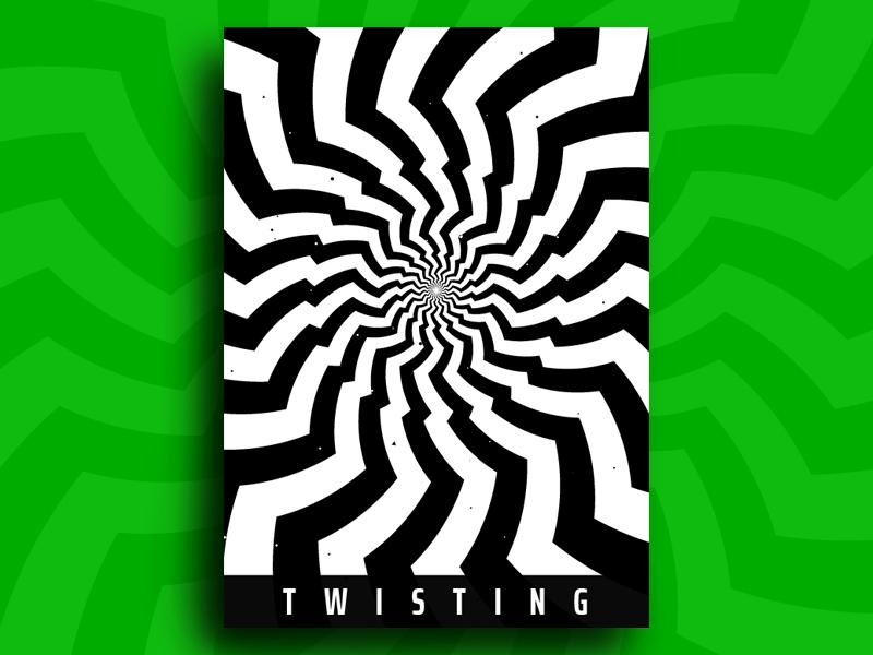 Twisting abstract plakat minimal branding hypnotic pattern kinetic geometry modern poster moving zigzag twisting circle optical illusion op art visual effect black white graphic design