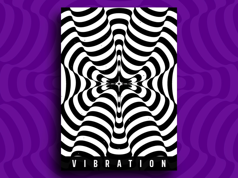 Vibration abstract plakat minimal branding hypnotic pattern kinetic geometry modern poster vibration striped wave optical illusion op art visual effect black white graphic design