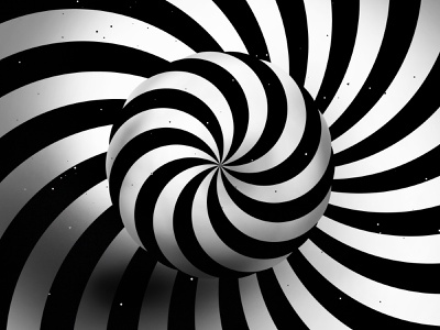 Twisting circle black and white hypnotic twisting circle striped kinetic texture abstract background digital graphics optical illusion op art graphic design visual effect