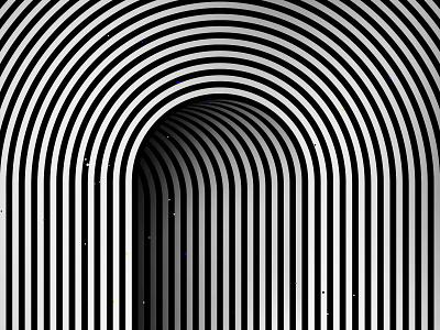 Hidden door tunnel door striped architectural kinetic geometric illustration optical illusion op art black white graphic design visual effect