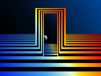 Portal perspective portal horizont circle space trippy hypnotic illustration striped abstract geometrical geometric abstraction geometry kinetic optical illusion op art black white graphic design visual effect