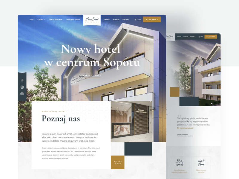 LoveSopot Residence - Modern hotel in Sopot booking system residence hotel booking hotel website design website webdesign ux uiux ui design project