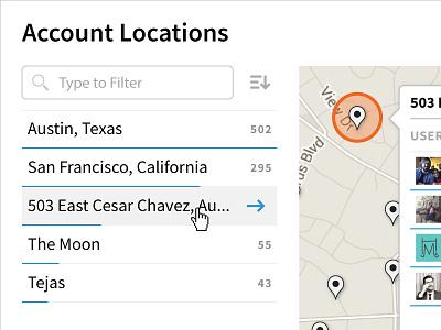 Account Locations bar chart list filter sort users map locations feed social media ui