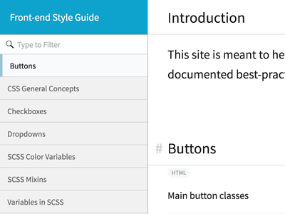 Front-end Style Guide code filter list style guide js html css