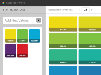 Switch Swatch tool gradient hex generator swatches swatch color