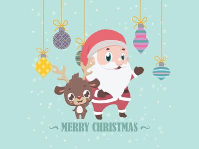 Christmas greeting with Santa and cute reindeer