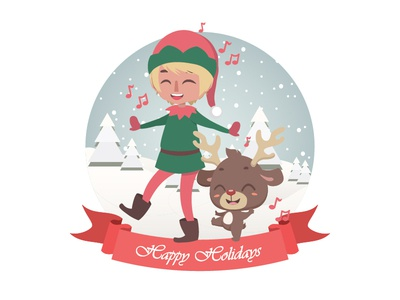 Cute Christmas greeting with elf and reindeer
