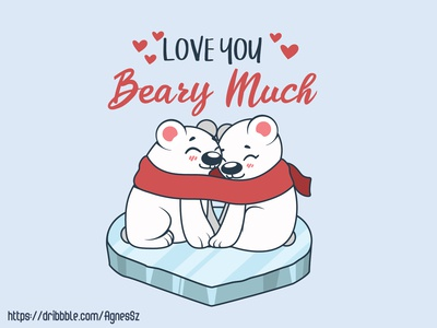 Love you beary much pun design