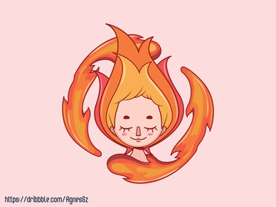 Stylized girl depicting the fire element