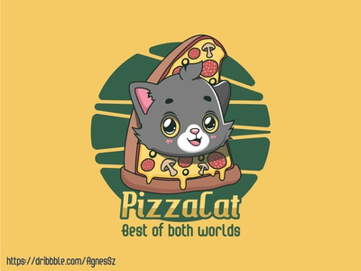 Kawaii pizza cat design
