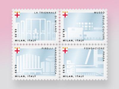 Milan's stamps #3 fondazione prada pirelli hangarbicocca museo delle culture triennale di milano mudec travel postage stamps milano milan italy silver art