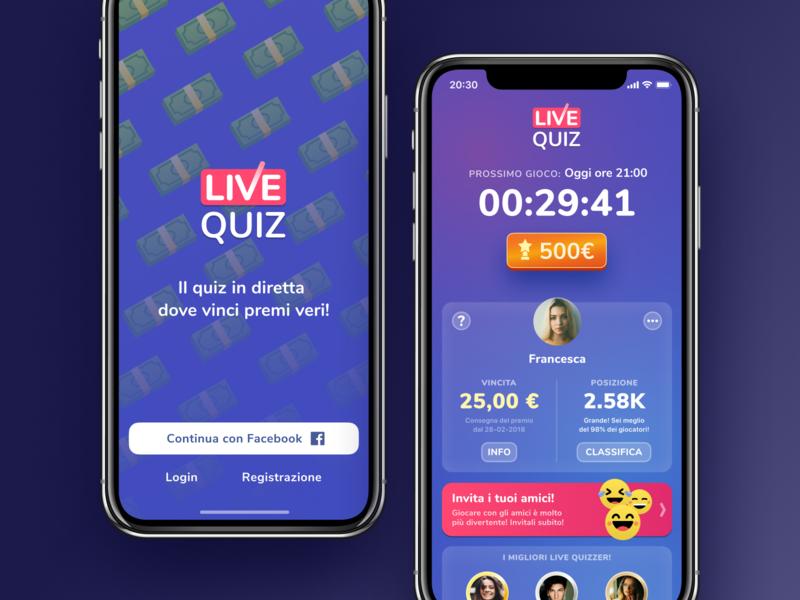 Live Quiz prize money blue trivia hq android iphone ios design ux ui quiz live bendingspoons app