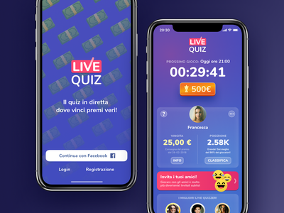 Live Quiz prize money blue trivia hq android iphone ios design ux ui quiz live bendingspoons app