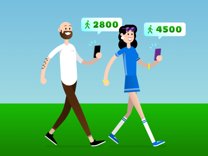 Stepz! 🚶♀️🚶♂️ vector illustrator device sweat summer app store app pedometer walking walk character stepz ui design mobile illustration
