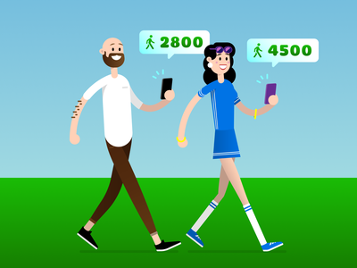Stepz! 🚶‍♀️🚶‍♂️ vector illustrator device sweat summer app store app pedometer walking walk character stepz ui design mobile illustration