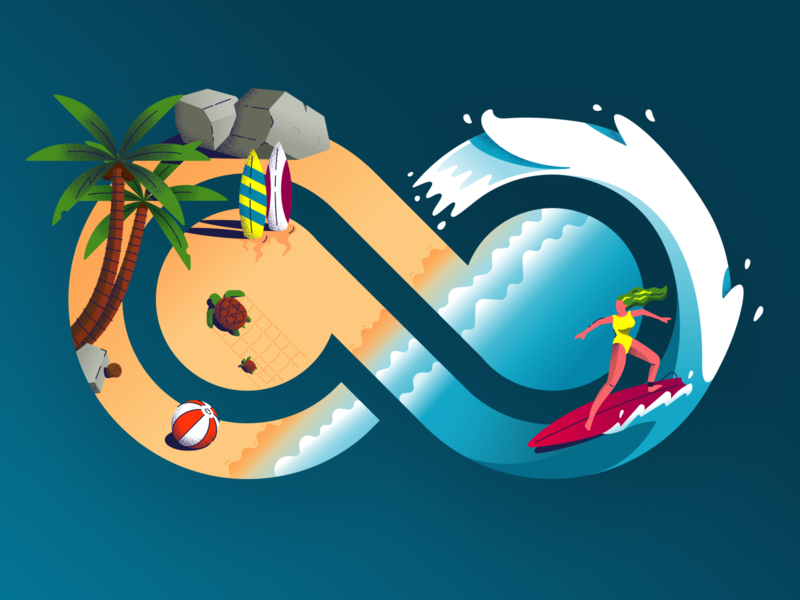 Bending Spoons' Hawaiian Party! 🍹 birthday party colorful vector water hot girl waves sand beach palm hawaian hawaii sea surf bending spoons logo design illustration