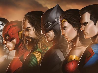Justice League Fan Art dceu justice league cyborg flash aquaman superman batman wonderwoman dcuniverse dccomics illustration