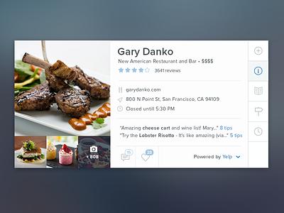 Restaurant Card Exploration vurb restaurant card app