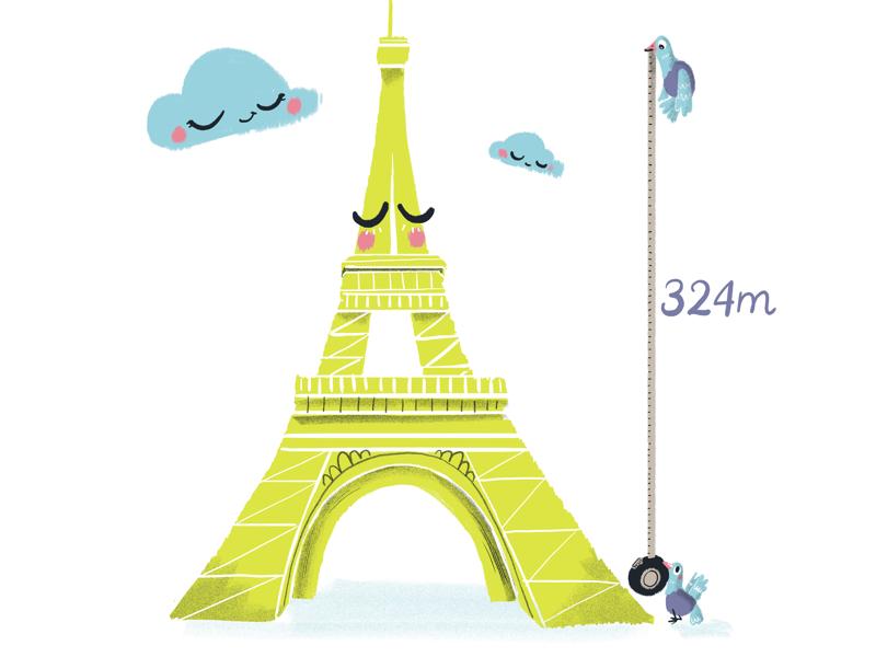 Eiffel tower landmarks cute city illustration traveling travel france paris