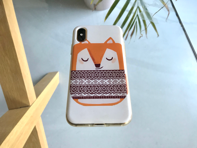 Little winter fox phone cover whismical cute fox phonecase illustration art licensing