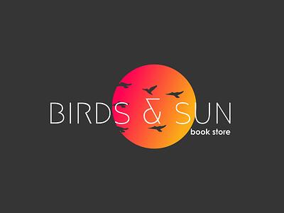 Birds & Sun Book Store Logo Design birds sun book branding logo