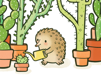 Quilliam! illustration character hedgehog echidna cactus garden childrens illustration