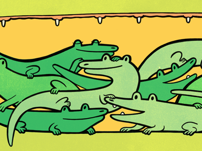 Mama gators carry their babies in their mouths... illustration alligator childrens illustration childrens book
