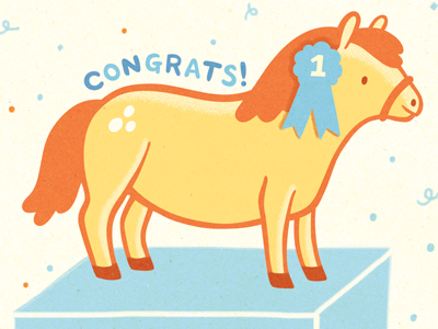 Congratulatory Pony (Full Color) illustration pony congrats congratulations horse cute prize first place