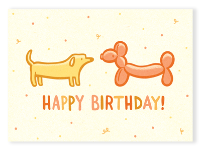 Birthday Dog Doppelgängers illustration birthday dog balloon balloon animal party card greeting card cute
