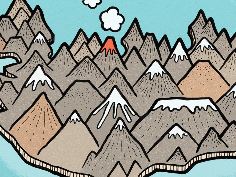 Iceland Volcanic illustration map iceland volcano mountain landscape