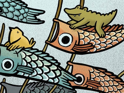 Fish Socks wind sock windsock alligator fish childrens illustration illustration