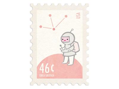 Spaceboy Stamp illustration astronaut stamp design space