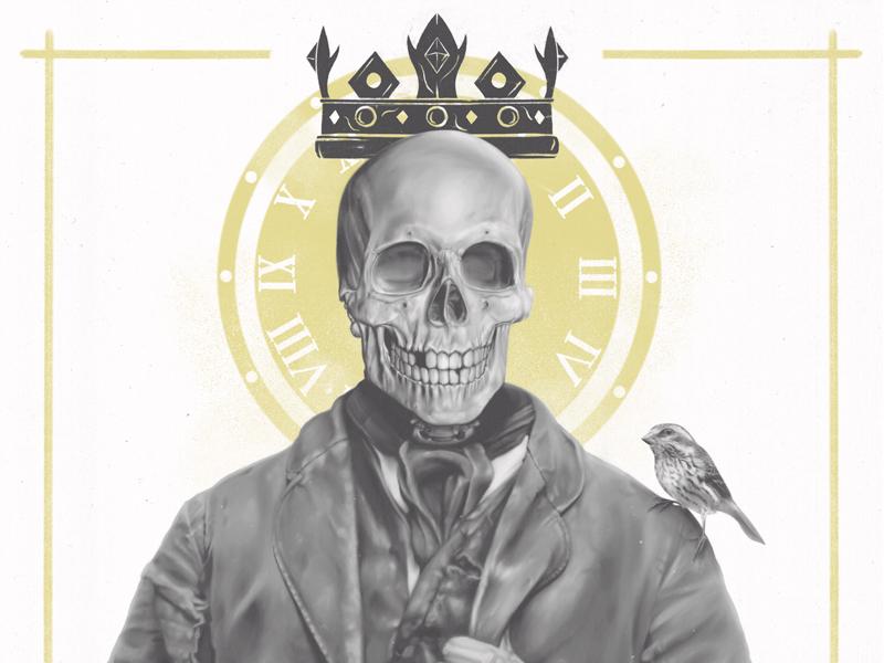 "crop of  ""Felon's Wage ≠ Felon's Gift"" tattoos tattoo vintage realism bird skeleton skulls skull"