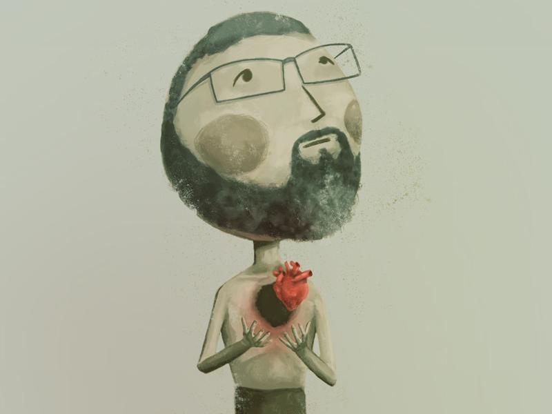 Self Portrait beard illustration heart