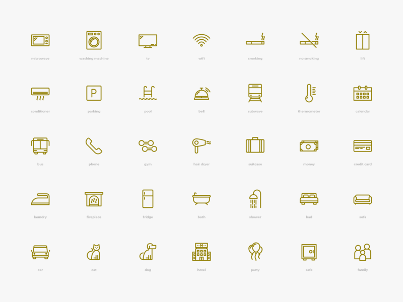 Amenities Icons Pack outline elements envato icons pack icons amenities