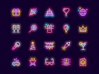 Party neon icons vector glow icons neon party