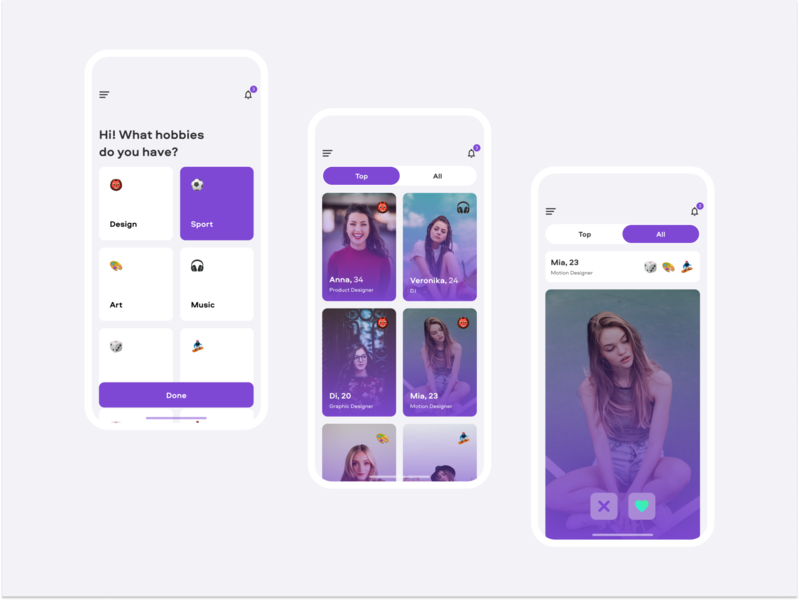 Dating App — concept hobbies mobile segmented control notification minimal ios concept datingapp