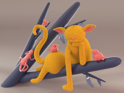 Pacifist cat illustraion 3d 3dmodelling c4d cinema4d