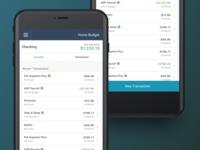 Accounts & Transactions Mobile - Budget App sidebar app budget mobile transaction table dashboard finance