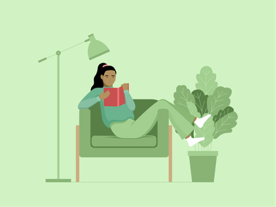 reading reading lounging selfcare illustration