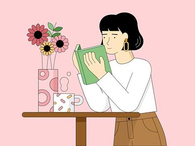 slow mornings flowers breakfast coffee reading 2dart illustrator illustration