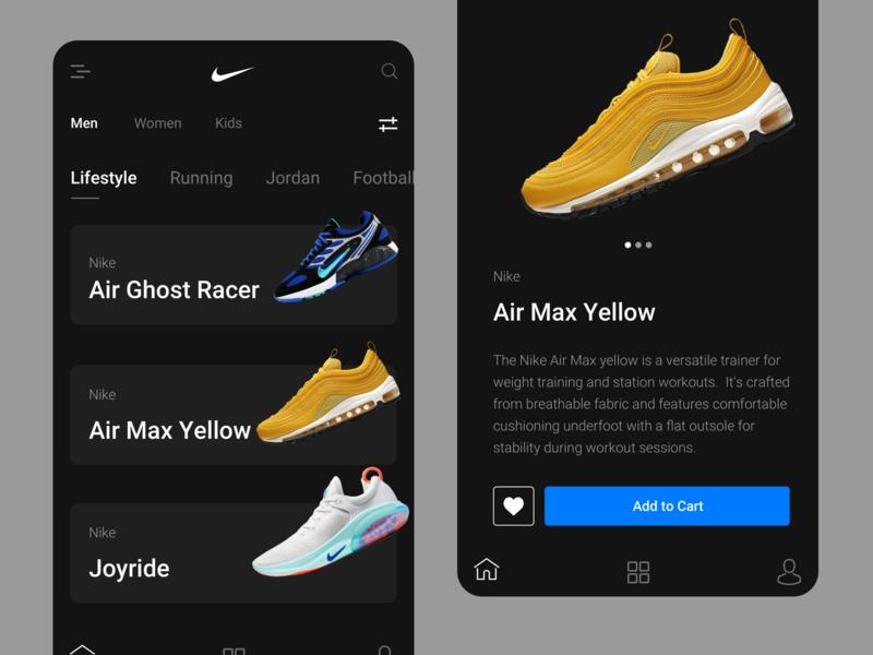 Concept Design For Nike Mobile App