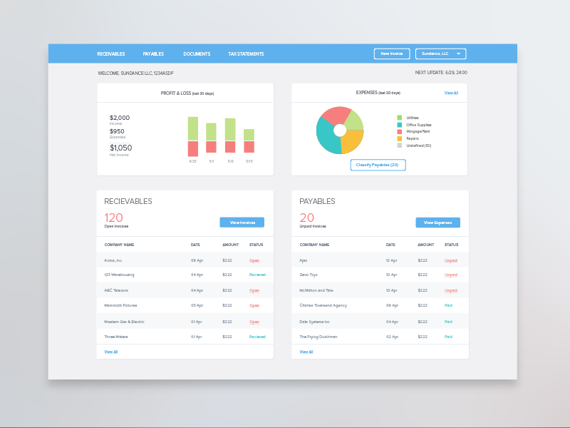 Accounting Dashboard dashboard