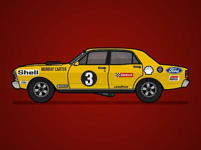 1973 - Shell - XY Falcon xy falcon australia poster illustration historic livery falcon ford black yellow