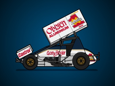 410 Sprintcar Retro Livery - Garry Brazier poster sprintcar sports livery racing motorsport illustration australia