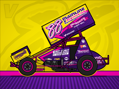 v88 Sprintcar Livery design sprintcar racing race car motorsport livery branding yellow pink purple